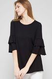 Quarter Sleeve Ruffle Top | 4 Colors!
