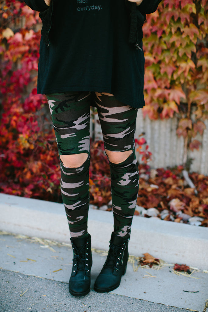 Peek-a-Boo Camo Leggings