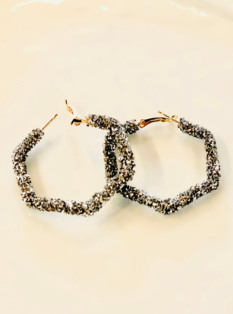 Geo Bling Hoop Earrings