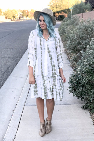 Buttoned Down Dye Dress