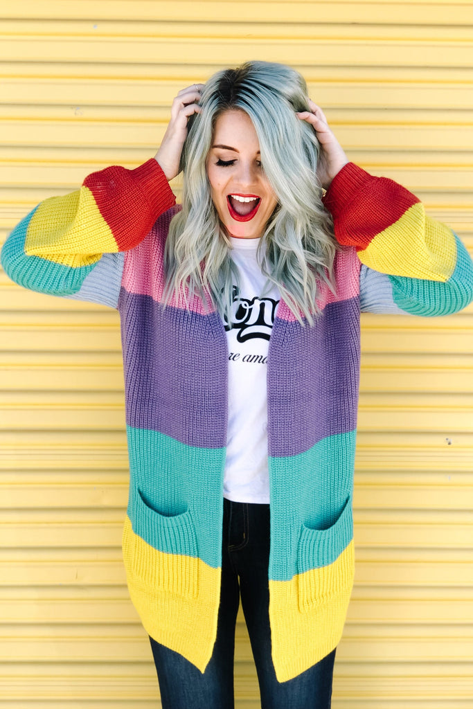 Oversized Rainbow Knit Cardigan