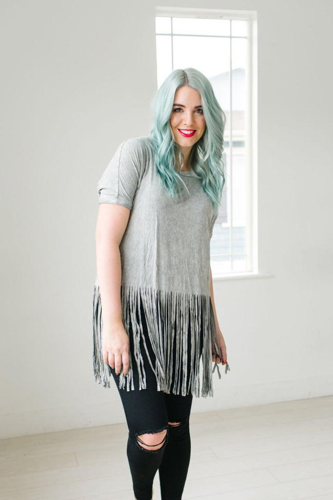 Acid Wash Fringe Top | 2 Colors!