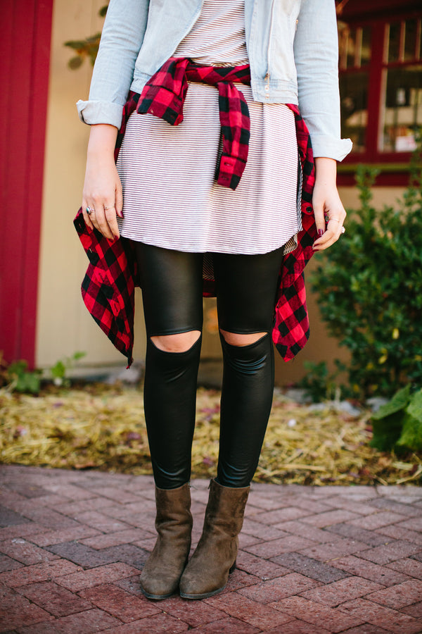 Peek-a-Boo Faux Leather Leggings