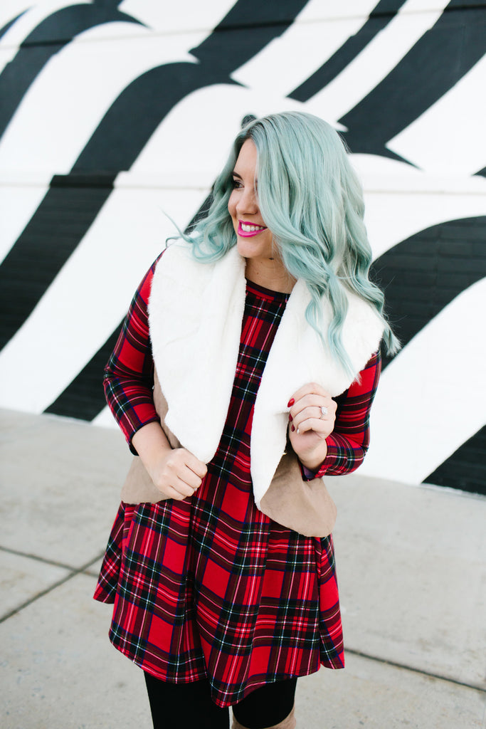Red Plaid Tunic Dress | Up to XL!