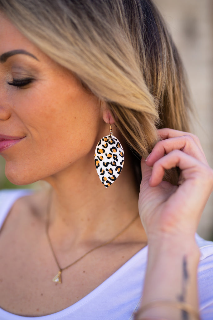 Leather and Leopard Drop Earrings | 2 Colors!