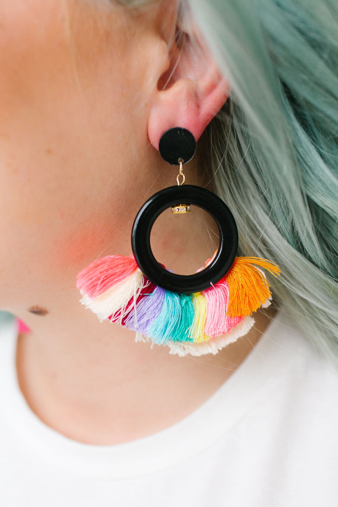 Rainbow Fringe Hoop Earrings | 2 Colors!