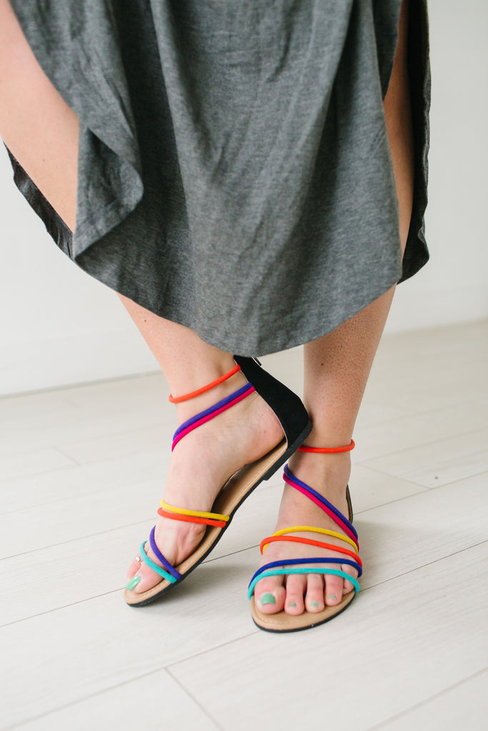 Rainbow Wrapped Sandals