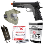 Elite Force 1911 TAC - Starter Airsoft Pistol Package - Mask/Speed Loaders/BBs/CO2