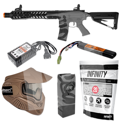 Valken ASL+ Whiskey AEG - Starter Airsoft Gun Package - Mask/Speed Loader/BBs/Battery/Charger