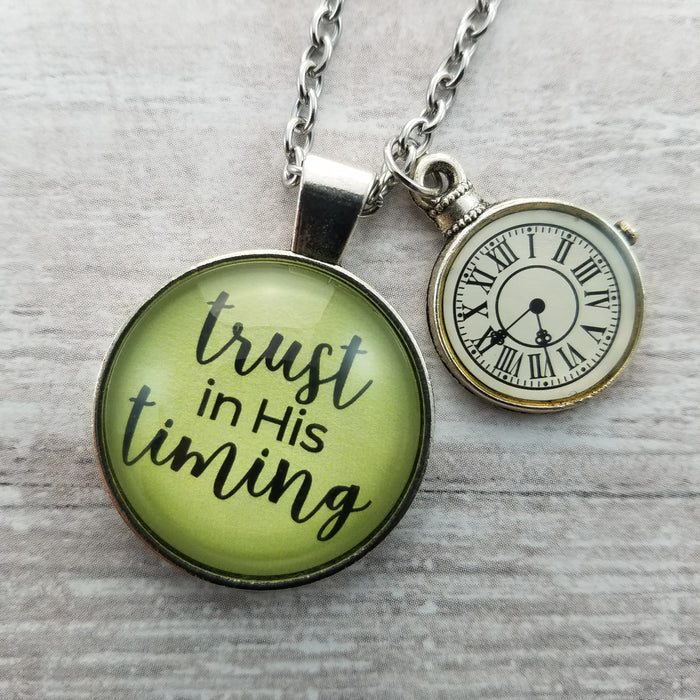 Trust in His Timing - Pendant Necklace