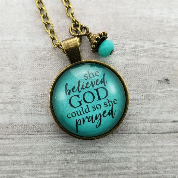 She Believed God Could so She Prayed - Pendant Necklace