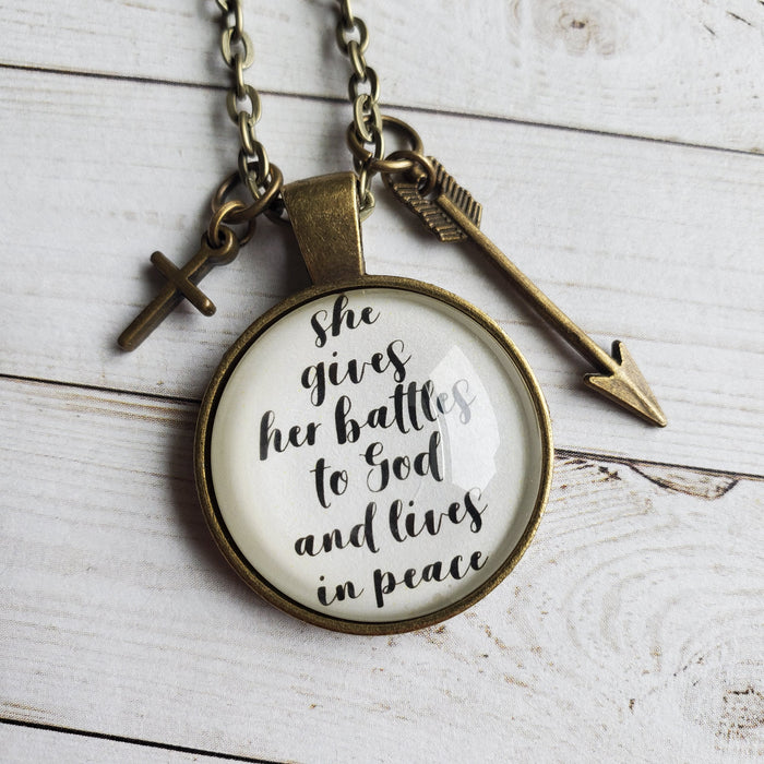 She Gives Her Battles to God - Pendant Necklace