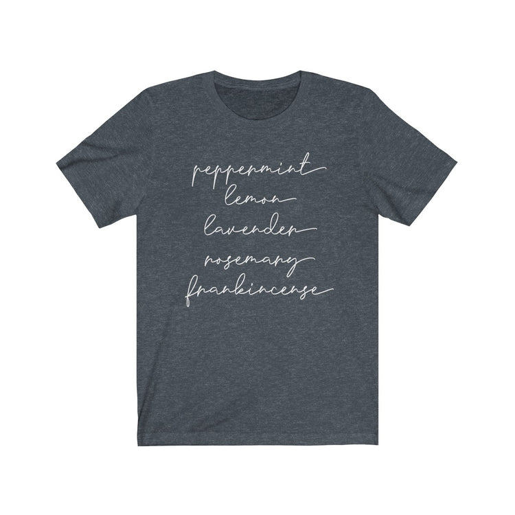 Peppermint Lemon Lavender Rosemary Frankincense - Unisex Short Sleeve Tee