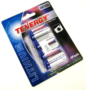 Tenergy CR123A Lithium Batteries (4-Pack)