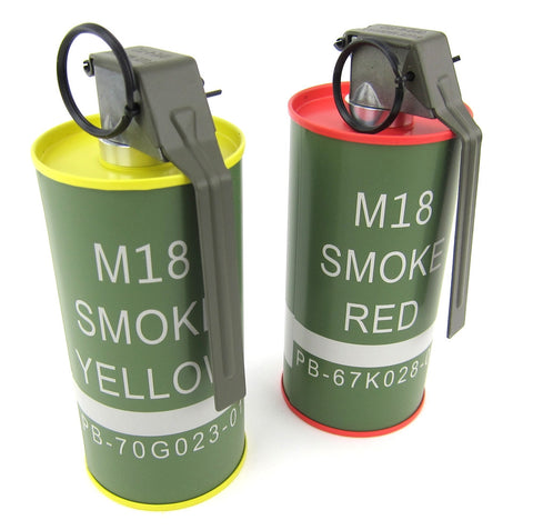 G&G M18 Smoke Grenade BB Can Set - Red/Yellow