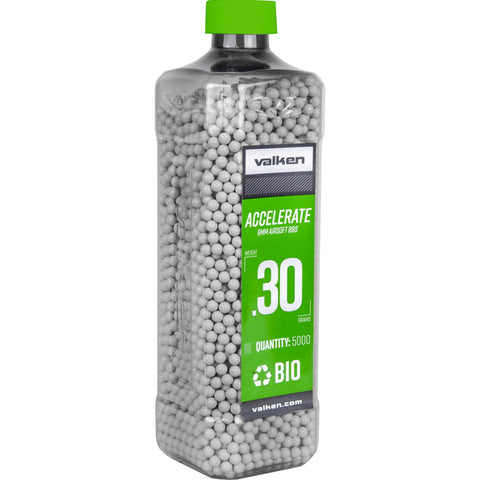 Valken Accelerate White Airsoft Biodegradable BBs - Bottle BIO