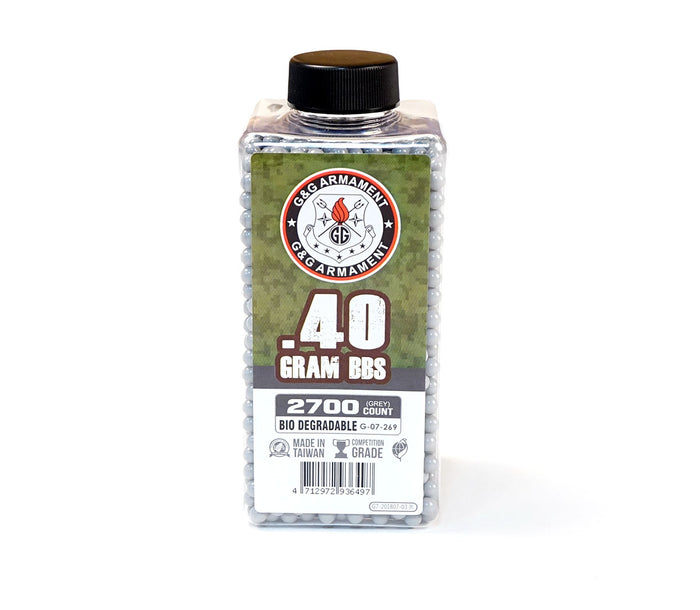 G&G BIO .40g 2700 Rounds Bottle BBs - Grey / White