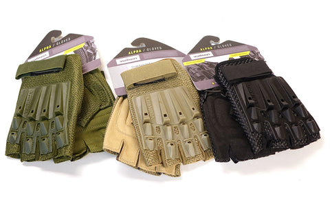 V-Tac Valken Alpha Half Finger Armored Airsoft Gloves