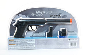 Walther PPK/S Spring Pistol - Black - Operative Kit w/Suppressor