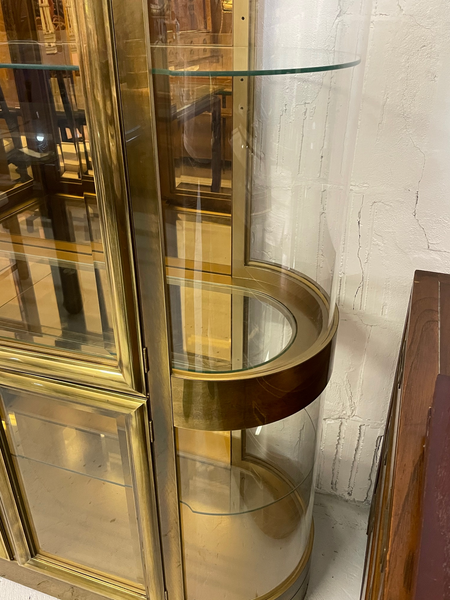 Mastercraft Brass and Glass Display or Vitrine Cabinets, a Pair close up