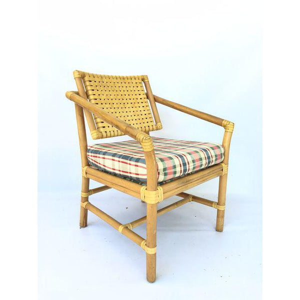 Brown Jordan Leather and Rattan Bamboo Dining Arm Chairs corner view