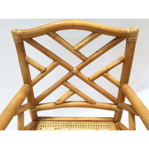 Chinese Chippendale McGuire Style Rattan Bamboo Arm Dining Chairs back