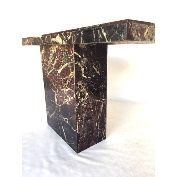 Marble Brutalist Pedestal Console Table