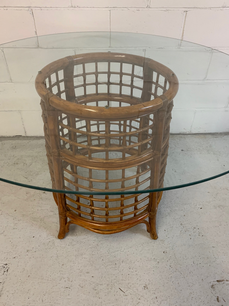 Rattan and Brass Dining Table top view