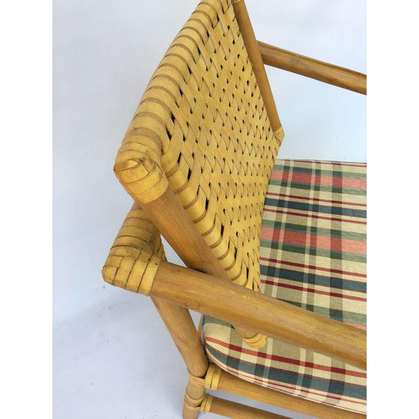 Brown Jordan Leather and Rattan Bamboo Dining Arm Chairs - Set of 4