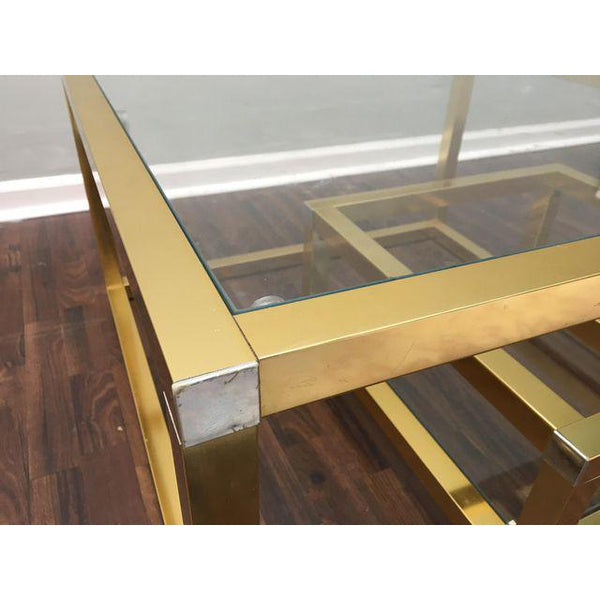 Cubist Brass Swivel Coffee Table with Wine Rack After Milo Baughman