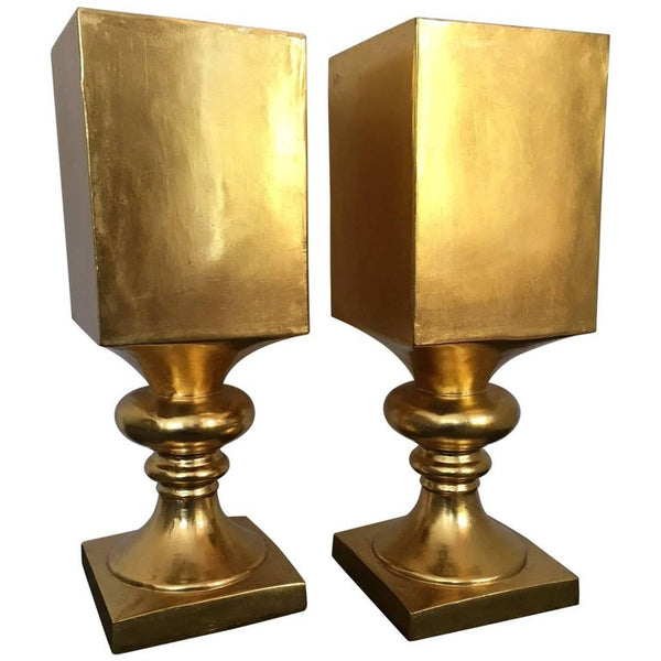 Pair of Large Hollywood Regency Gold Gilt Pedestal Planters