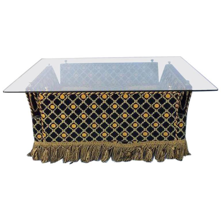 Italian Versace Style Velvet Knole Glass Coffee Table by Stefano Giovanni