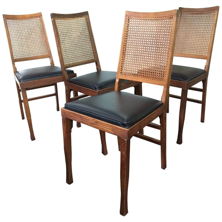 Set of Four Legomatic Cane Back Folding Chairs