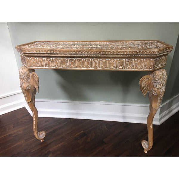 Gampel-Stoll Hand-Carved Elephant Console Table