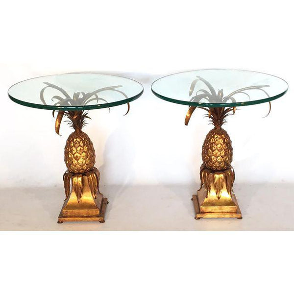 Pair of Hollywood Regency Gold Gilt Tole Pineapple Side Tables