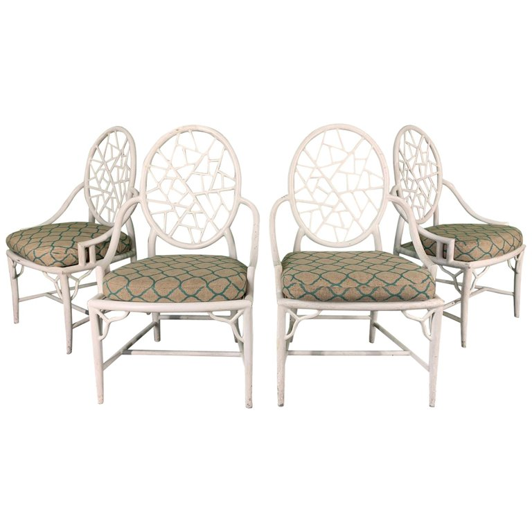 McGuire Style Cracked Ice Metal Dining Chairs