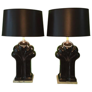 Pair of Art Deco Black Ceramic and Lucite Waterfall Table Lamps