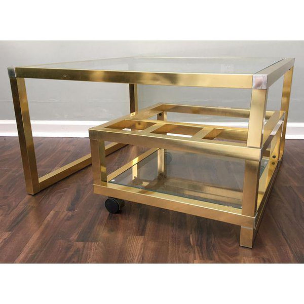 Cubist Brass Swivel Coffee Table with Wine Rack After Milo Baughman side view