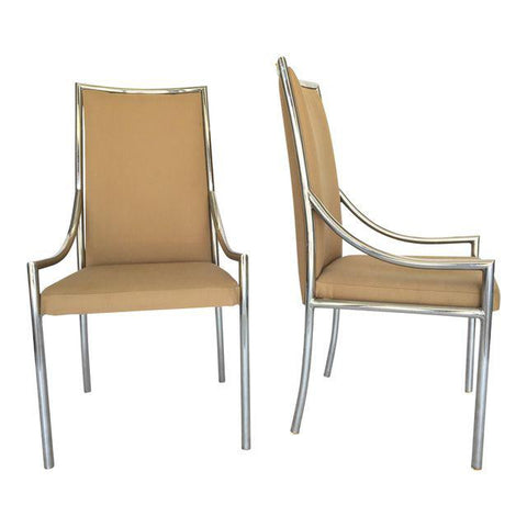 Pair of Chrome Dining Chairs After Milo Baughmann