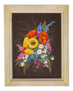 1970s Framed Floral Embroidery Wall Hanging