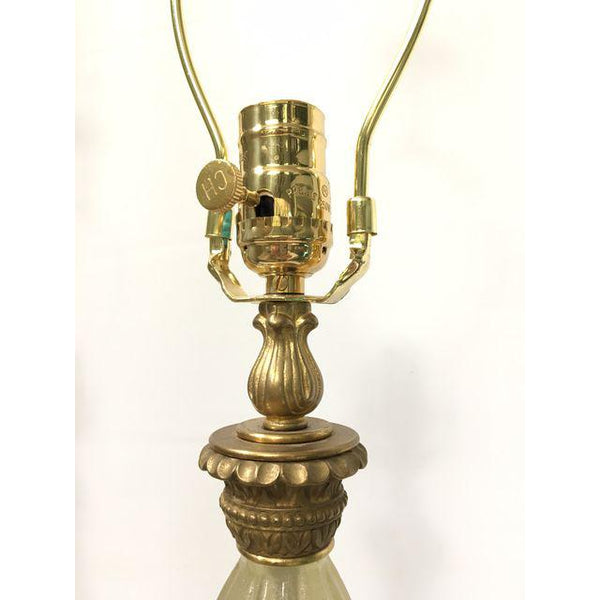 Pair of Large Hollywood Regency Murano Italian Glass Brass Ormolu Table Lamps