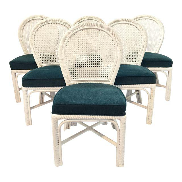 Set of 6 Twisted Rattan Bamboo Cane Back Dining Chairs
