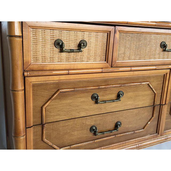 Broyhill Caned Rattan and Faux Bamboo Dresser detailing