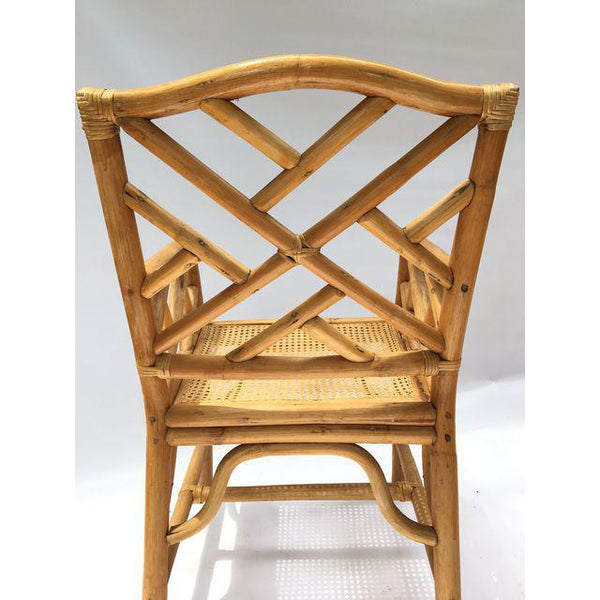 Chinese Chippendale McGuire Style Rattan Bamboo Arm Dining Chairs rear