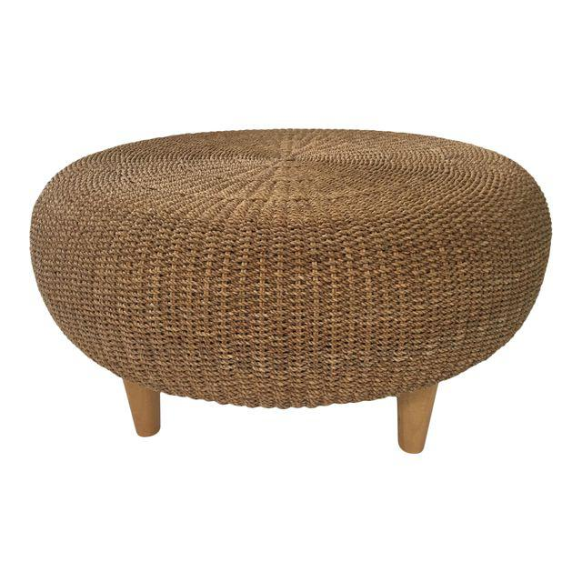 Round Woven Rattan & Wicker Ottoman / Coffee Table