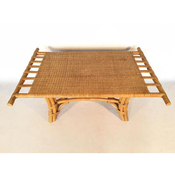Vintage Pagoda Style Bamboo with Cane Coffee Table