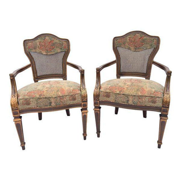 Pair of Heritage Cane Back Floral Tapestry Arm Chairs