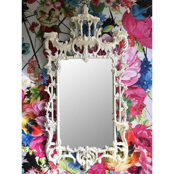 Magnificent White Lacquer Chinese Chippendale Pagoda Mirror