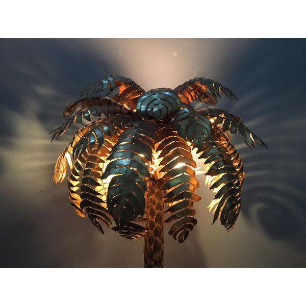 Maison Jansen Style Hollywood Regency Brass Palm Tree Floor Lamp lighted