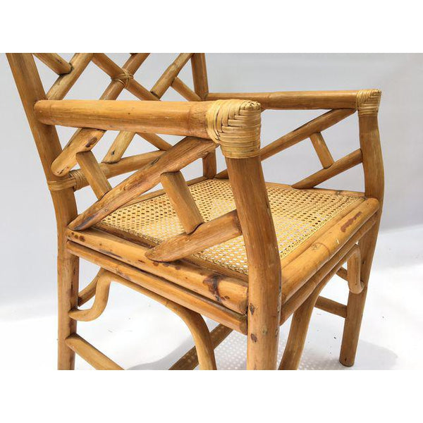 Chinese Chippendale McGuire Style Rattan Bamboo Arm Dining Chairs close up